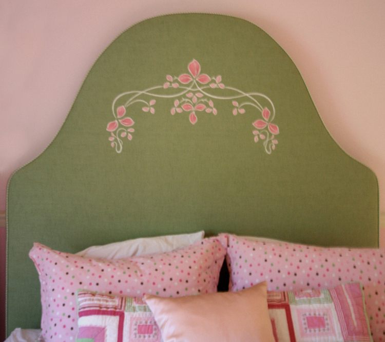 Hand Painted headboard details in Highland Park