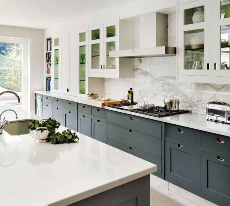 Two Tone Cabinets In Gray And White, Chrome Fixtures, Granite And Concrete  Countertops, Stainless Steel Appliances, And White Subway Tile Backsplash  With ...