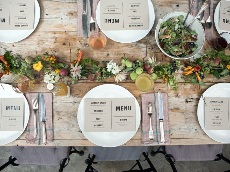 Menu with greenery