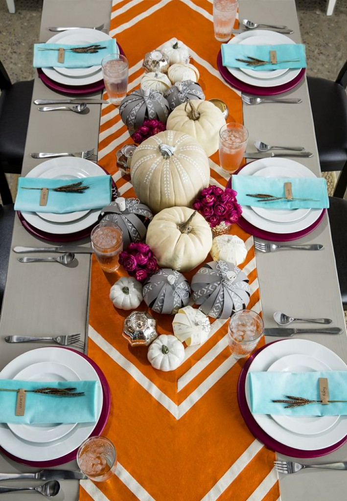 bold table runner with pumpkins